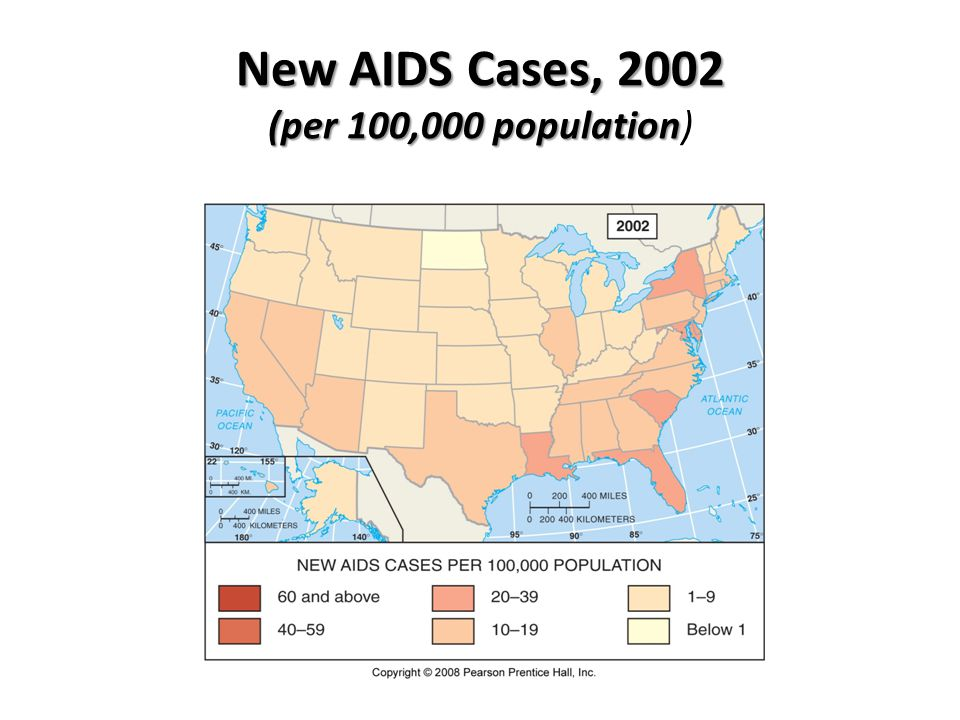 New AIDS Cases, 2002 (per 100,000 population)