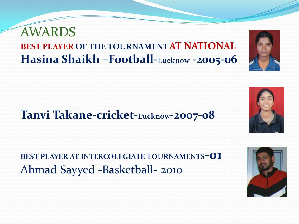AWARDS Hasina Shaikh –Football-Lucknow -2005-06