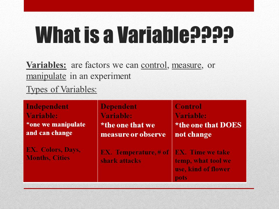 Variables: are factors we can control, measure, or manipulate in an experiment Types of Variables: