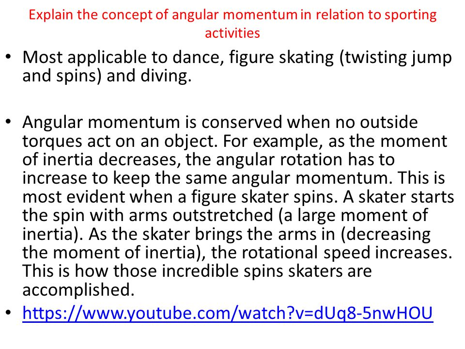 Explain the concept of angular momentum in relation to sporting activities
