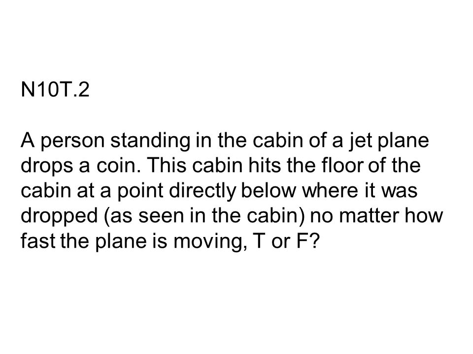 N10T. 2 A person standing in the cabin of a jet plane drops a coin