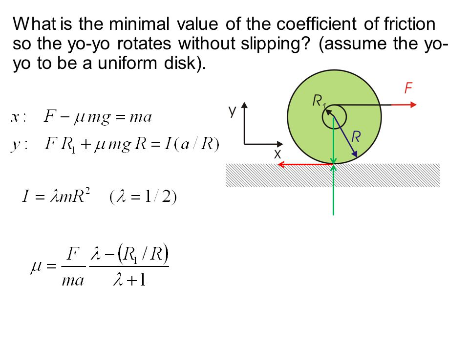 What is the minimal value of the coefficient of friction so the yo-yo rotates without slipping (assume the yo-yo to be a uniform disk).