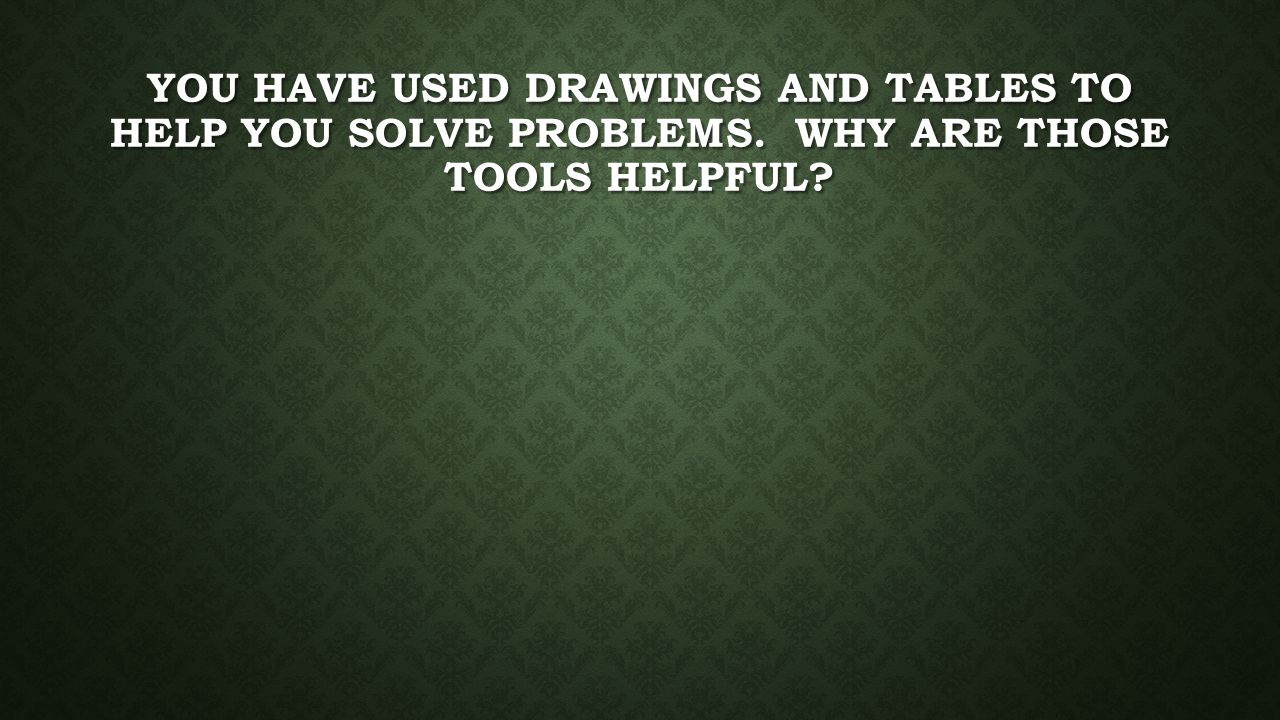 You have used drawings and tables to help you solve problems