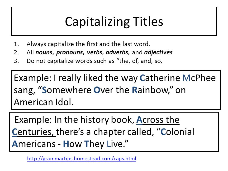 Capitalizing Titles Always capitalize the first and the last word. All nouns, pronouns, verbs, adverbs, and adjectives.