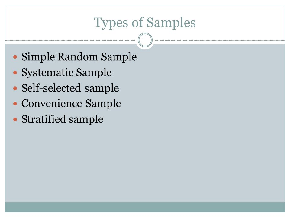 Types of Samples Simple Random Sample Systematic Sample