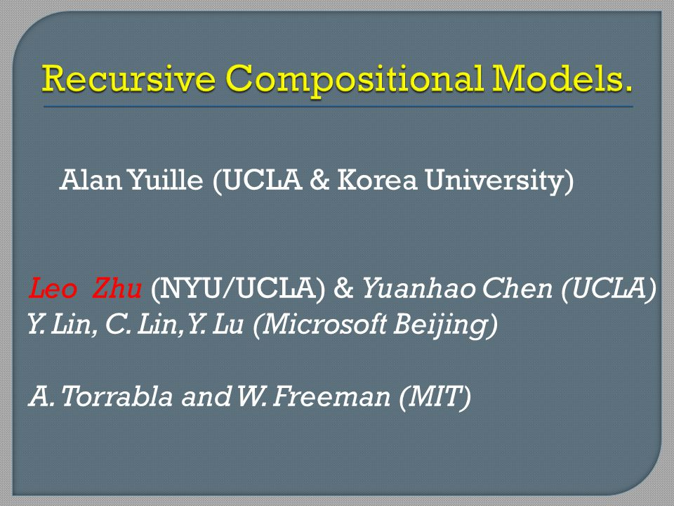 Recursive Compositional Models.