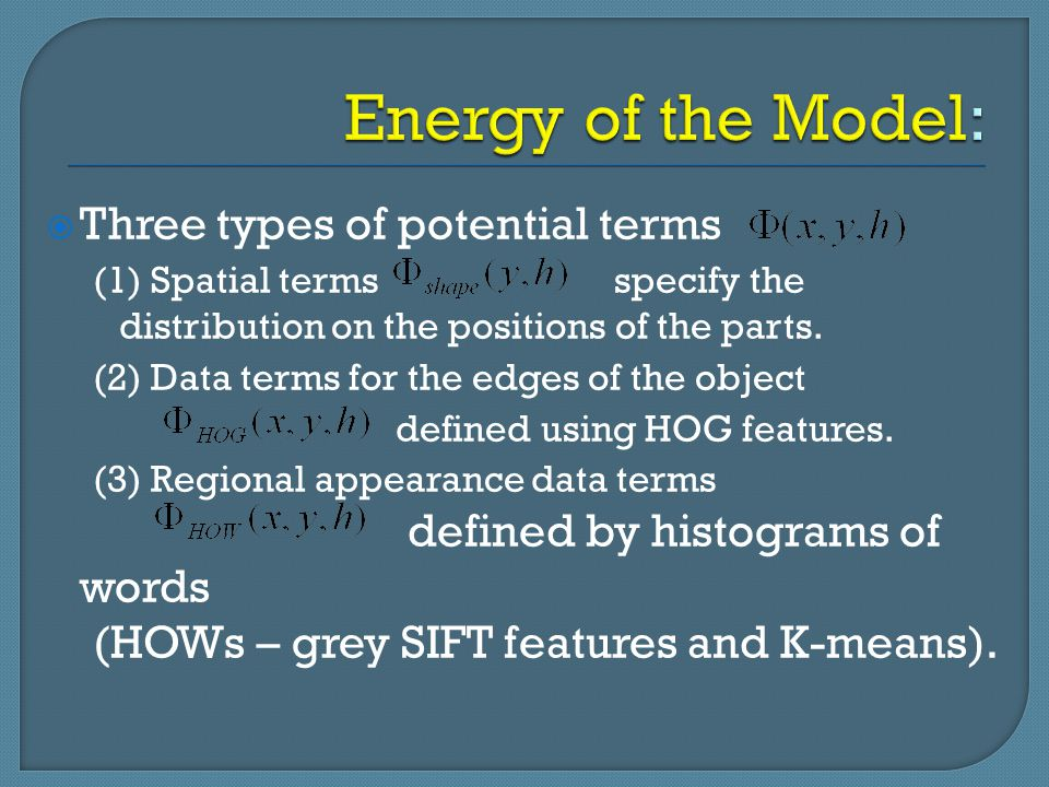 Energy of the Model: Three types of potential terms
