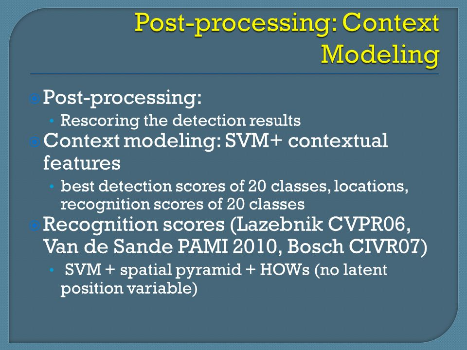 Post-processing: Context Modeling