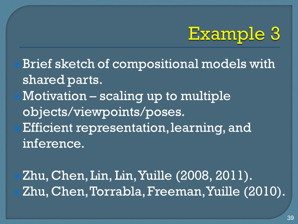 Example 3 Brief sketch of compositional models with shared parts.