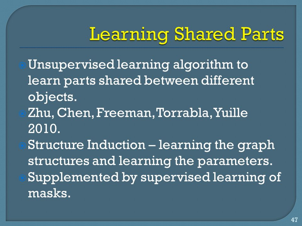 Learning Shared Parts Unsupervised learning algorithm to learn parts shared between different objects.