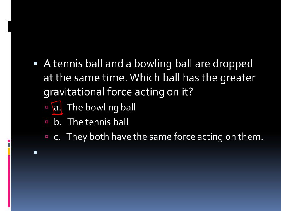 A tennis ball and a bowling ball are dropped at the same time