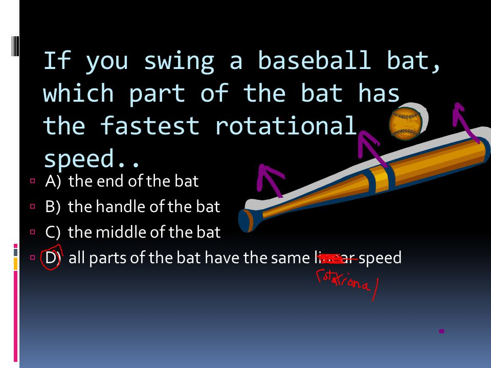 If you swing a baseball bat, which part of the bat has the fastest rotational speed..
