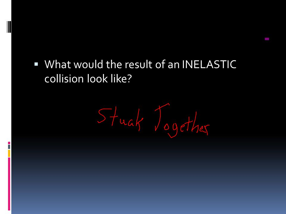What would the result of an INELASTIC collision look like