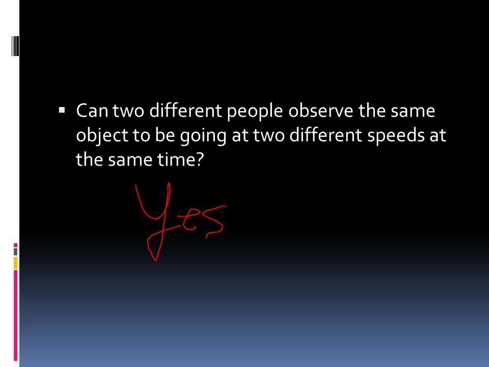 Can two different people observe the same object to be going at two different speeds at the same time