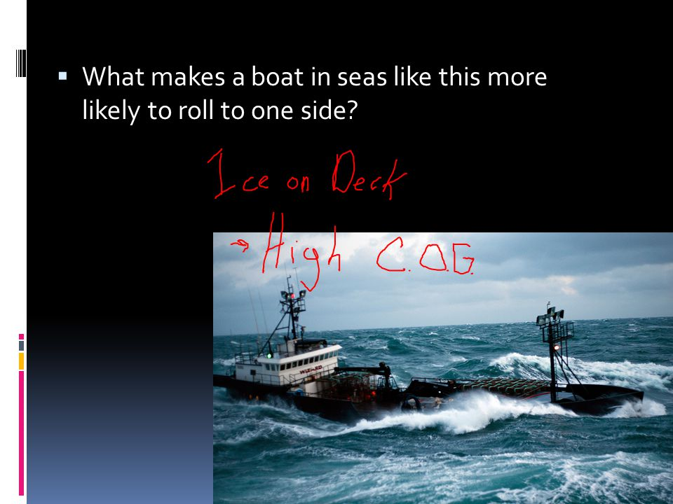 What makes a boat in seas like this more likely to roll to one side