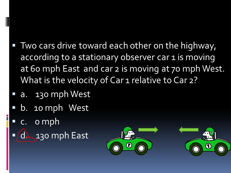 Two cars drive toward each other on the highway, according to a stationary observer car 1 is moving at 60 mph East and car 2 is moving at 70 mph West. What is the velocity of Car 1 relative to Car 2
