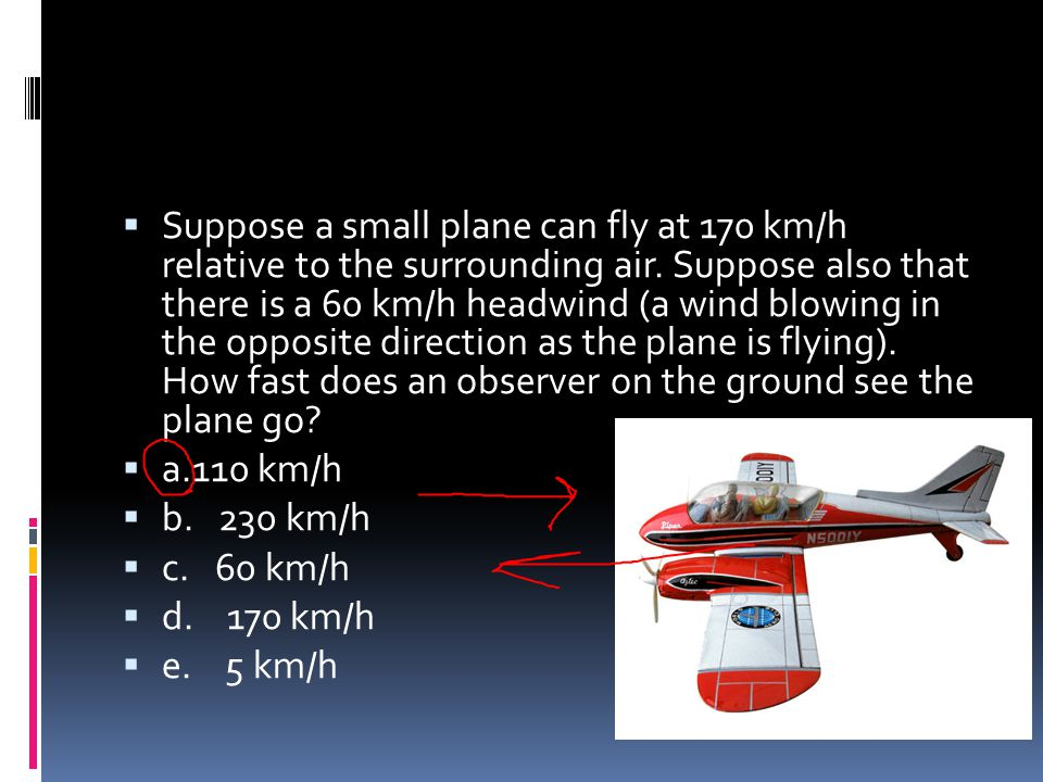 Suppose a small plane can fly at 170 km/h relative to the surrounding air. Suppose also that there is a 60 km/h headwind (a wind blowing in the opposite direction as the plane is flying). How fast does an observer on the ground see the plane go