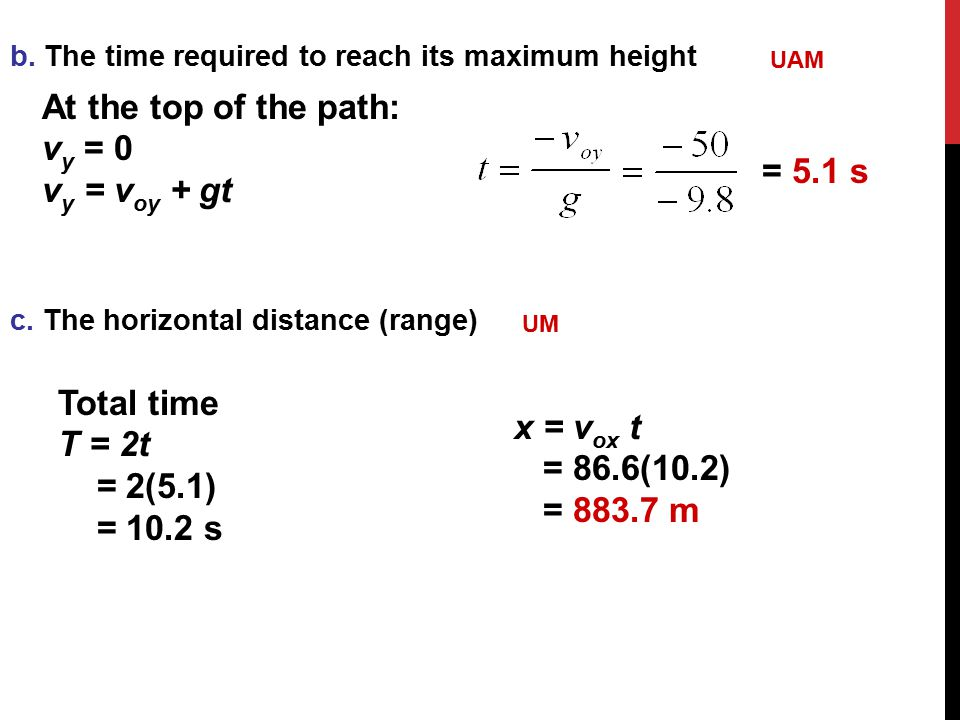 At the top of the path: vy = 0 vy = voy + gt = 5.1 s Total time T = 2t