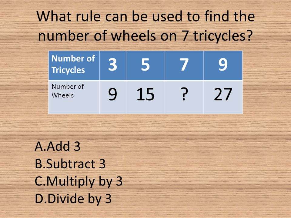 What rule can be used to find the number of wheels on 7 tricycles