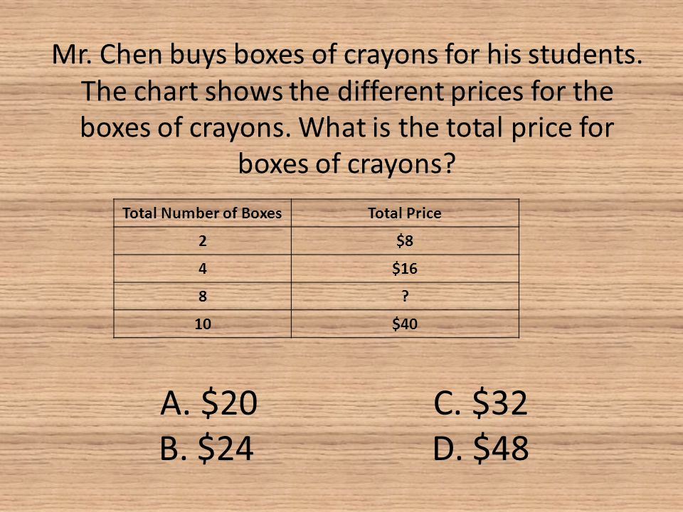 Mr. Chen buys boxes of crayons for his students