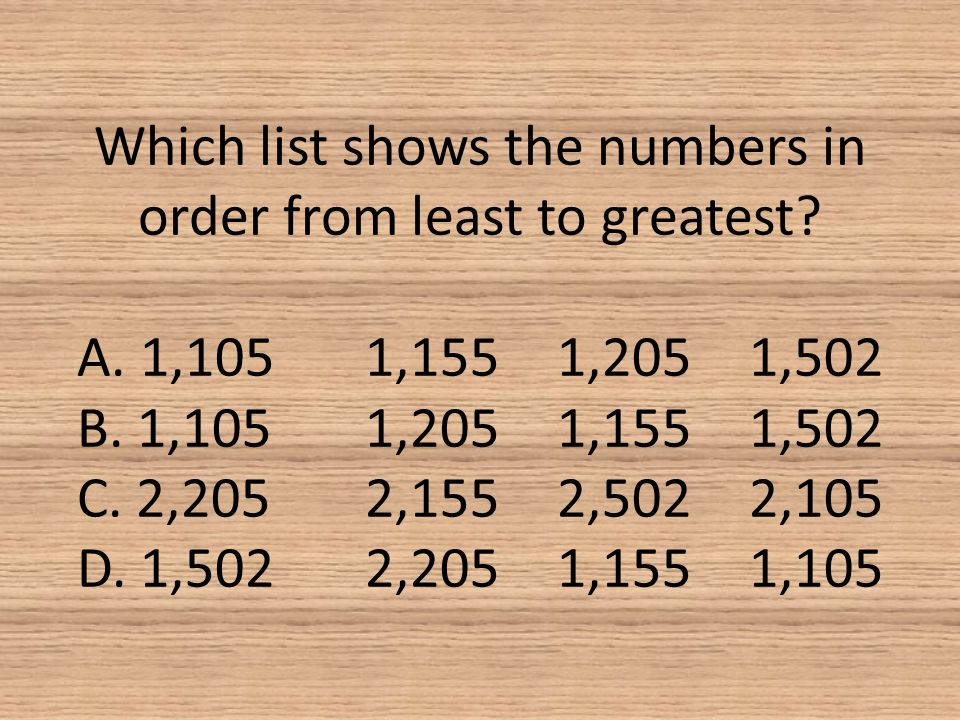 Which list shows the numbers in order from least to greatest. A. 1,105