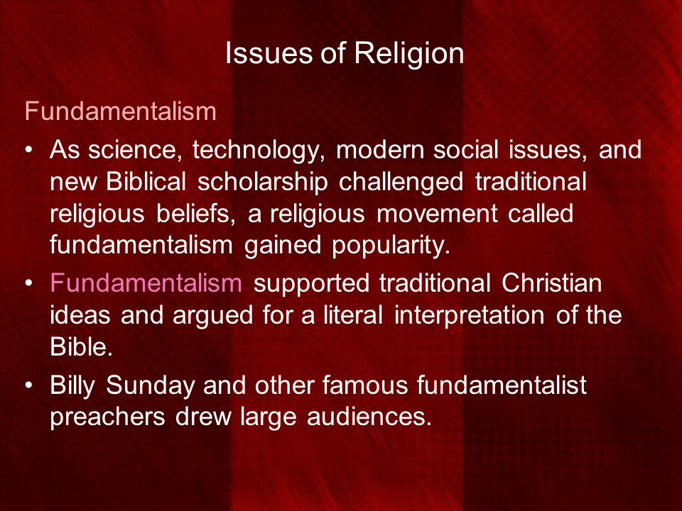 Issues of Religion Fundamentalism