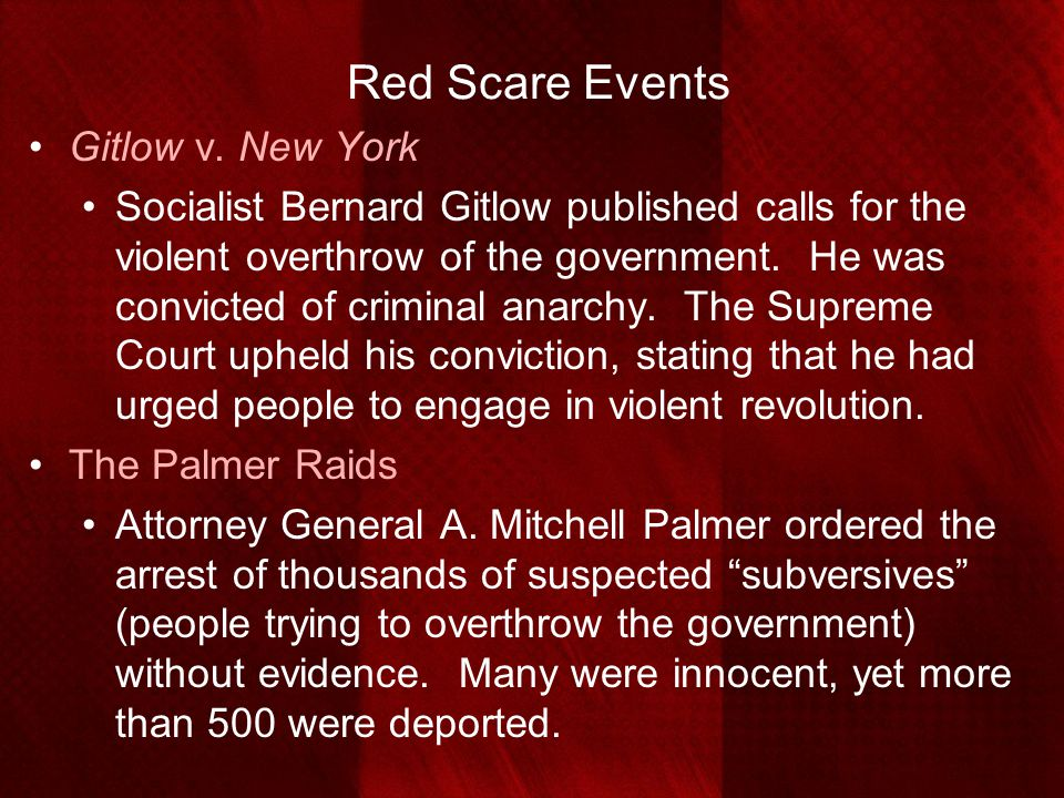 Red Scare Events Gitlow v. New York