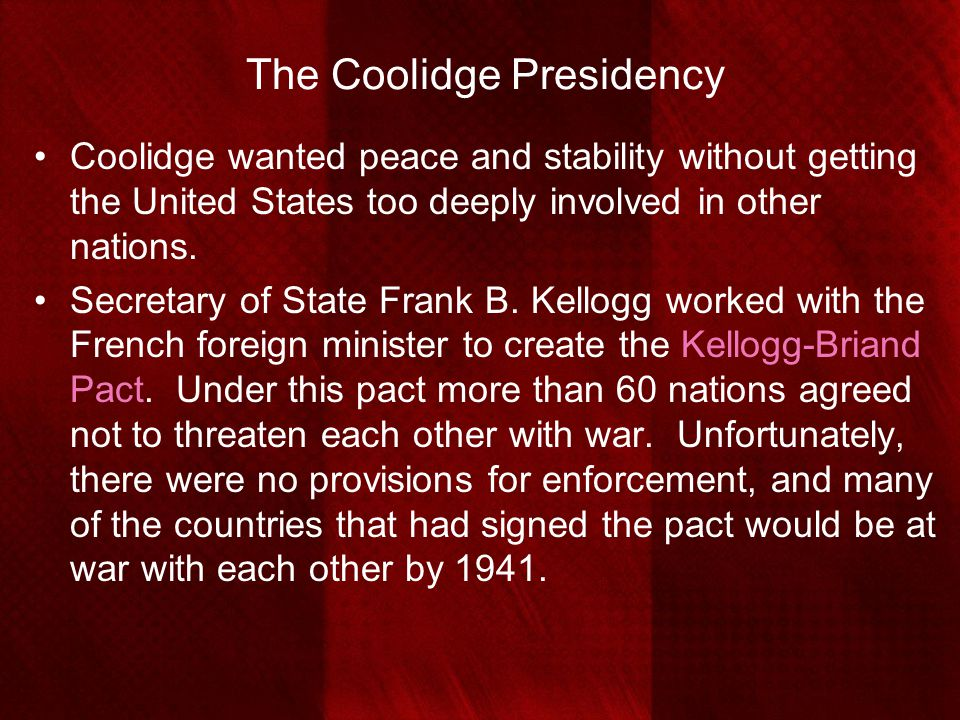 The Coolidge Presidency
