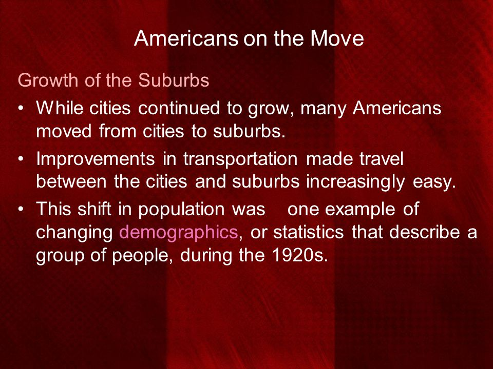 Americans on the Move Growth of the Suburbs