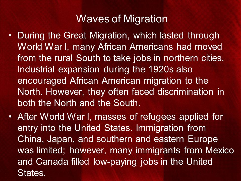 Waves of Migration