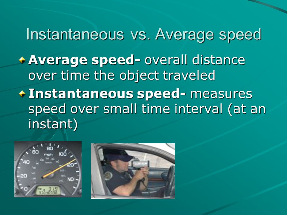 Instantaneous vs. Average speed
