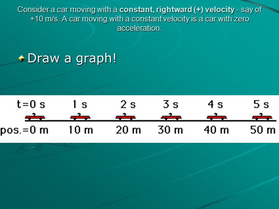Consider a car moving with a constant, rightward (+) velocity - say of +10 m/s. A car moving with a constant velocity is a car with zero acceleration.