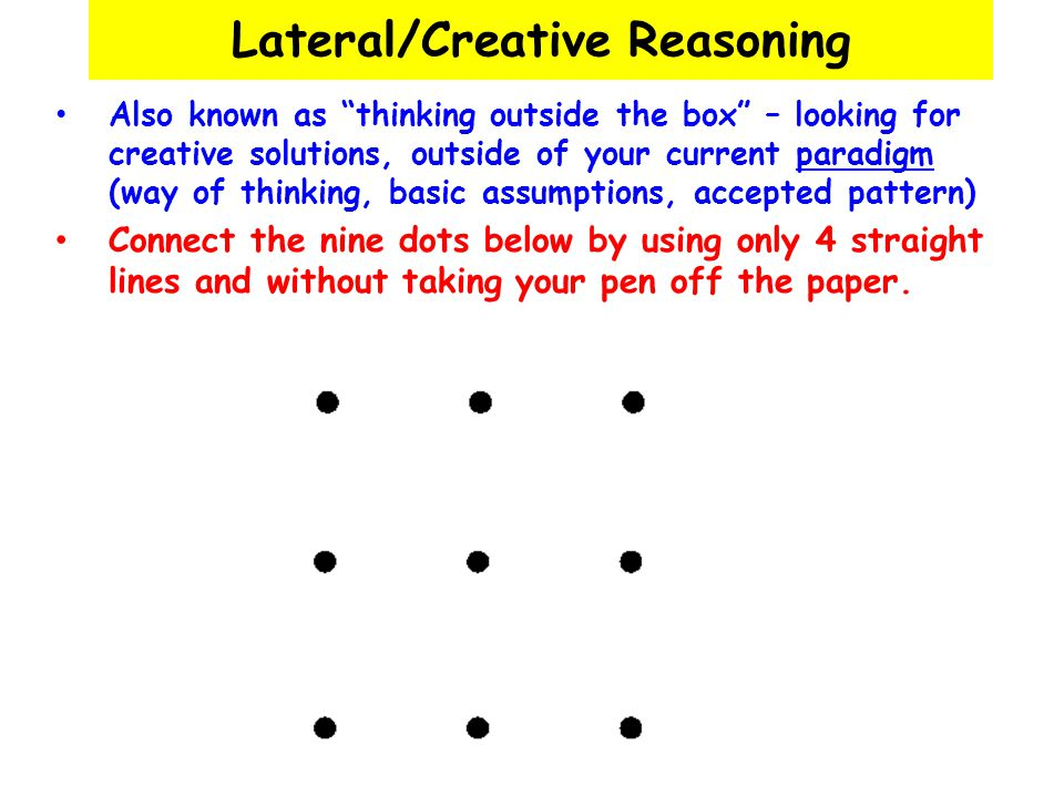 Lateral/Creative Reasoning