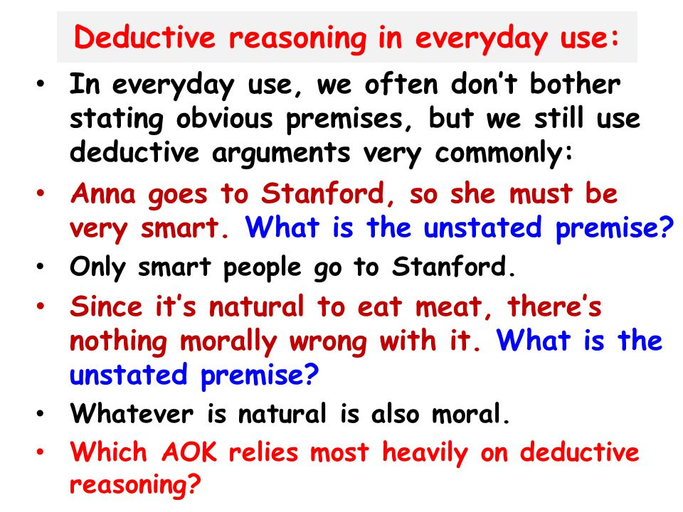 Deductive reasoning in everyday use: