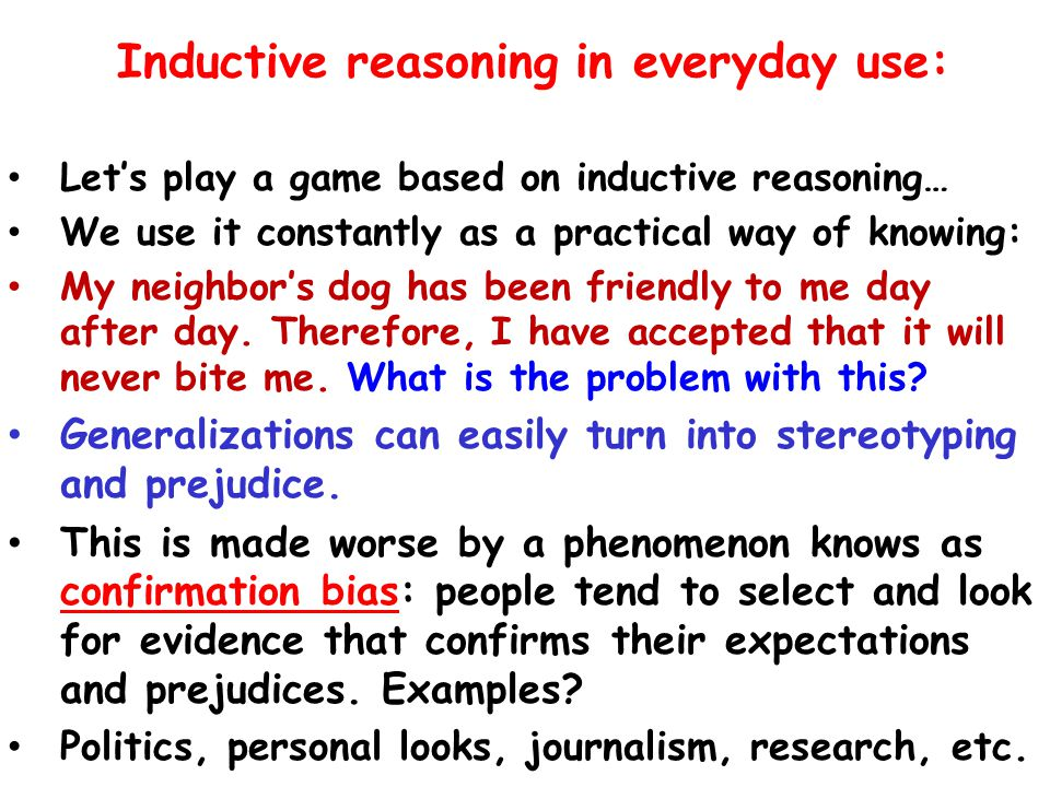 Inductive reasoning in everyday use: