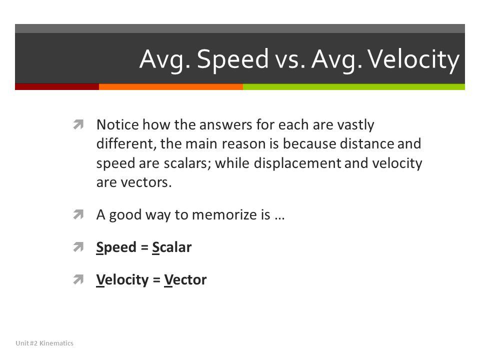 Avg. Speed vs. Avg. Velocity