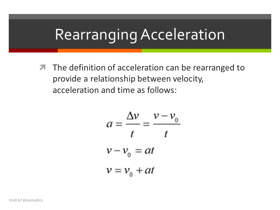 Rearranging Acceleration