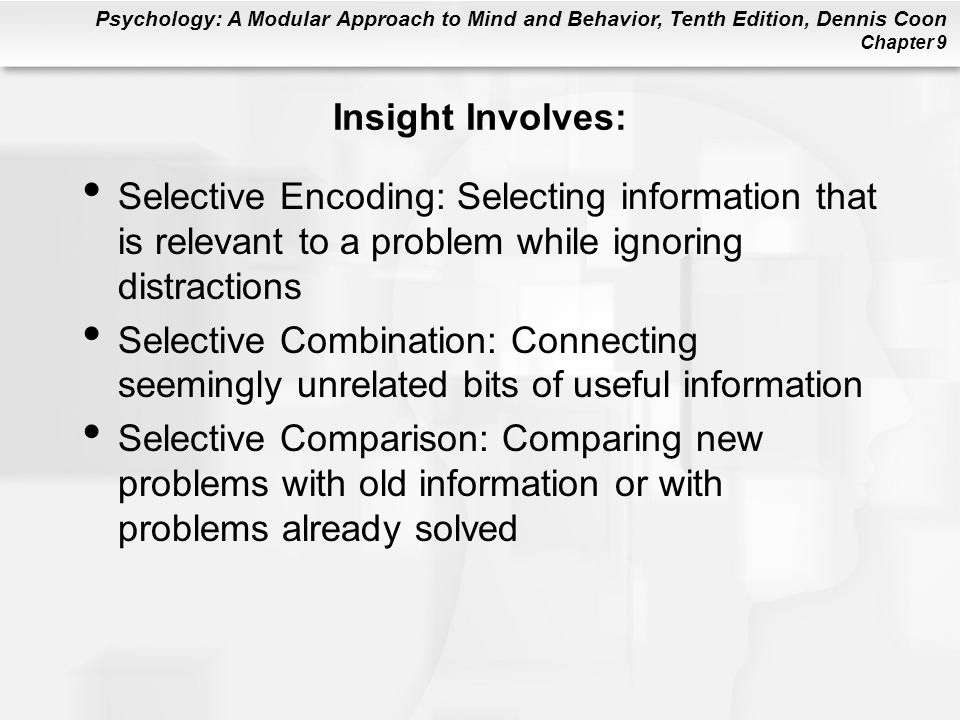 Insight Involves: Selective Encoding: Selecting information that is relevant to a problem while ignoring distractions.