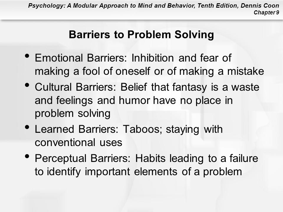 Barriers to Problem Solving