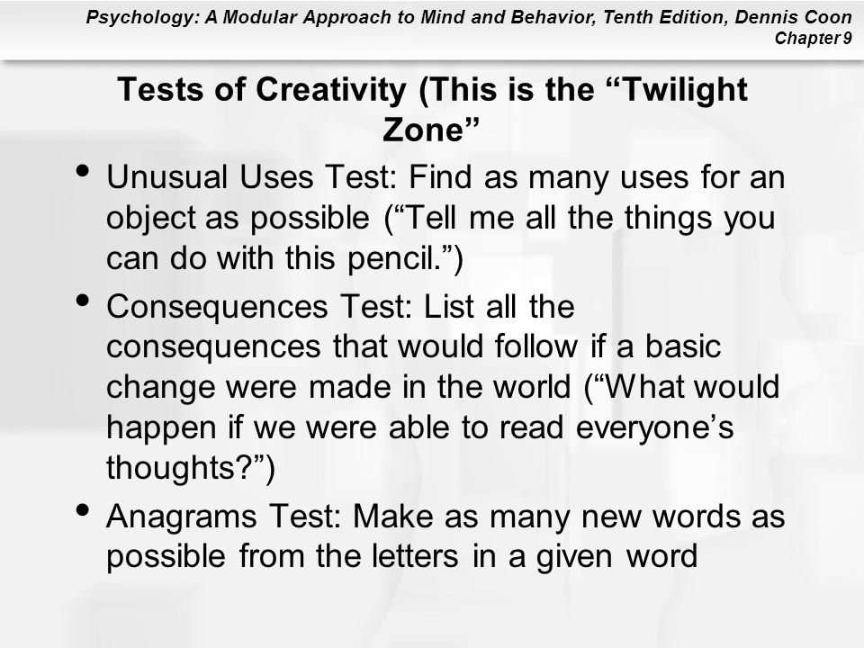 Tests of Creativity (This is the Twilight Zone