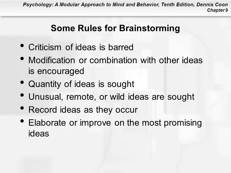 Some Rules for Brainstorming