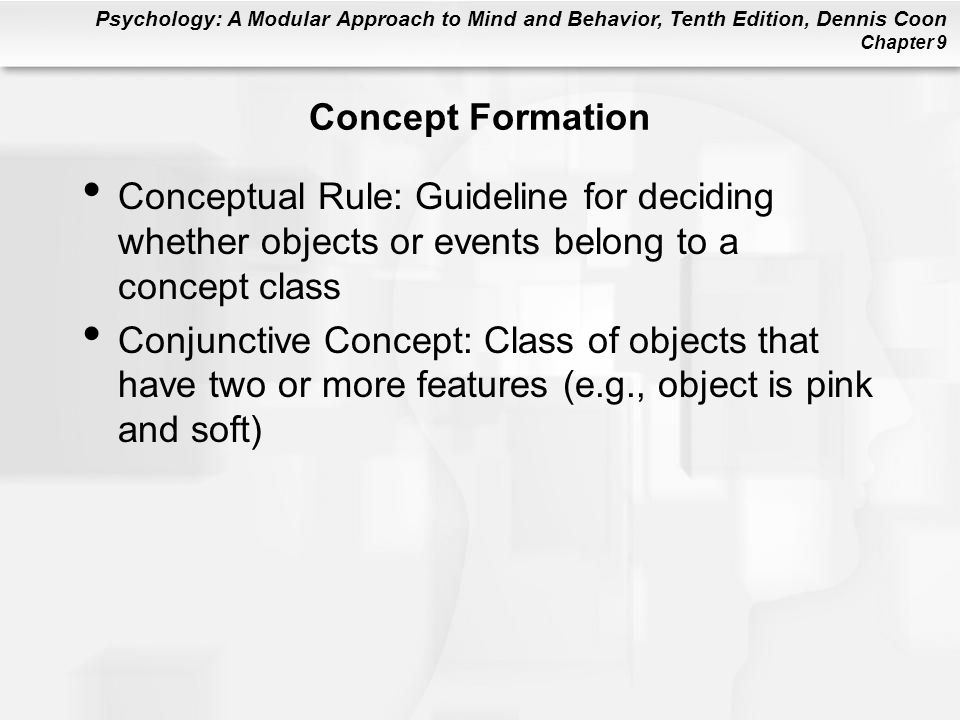 Concept Formation Conceptual Rule: Guideline for deciding whether objects or events belong to a concept class.