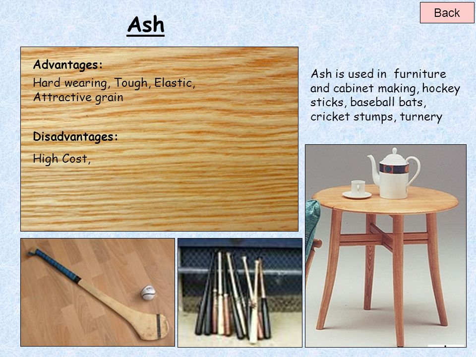 Back Ash. Advantages: Ash is used in furniture and cabinet making, hockey sticks, baseball bats, cricket stumps, turnery.
