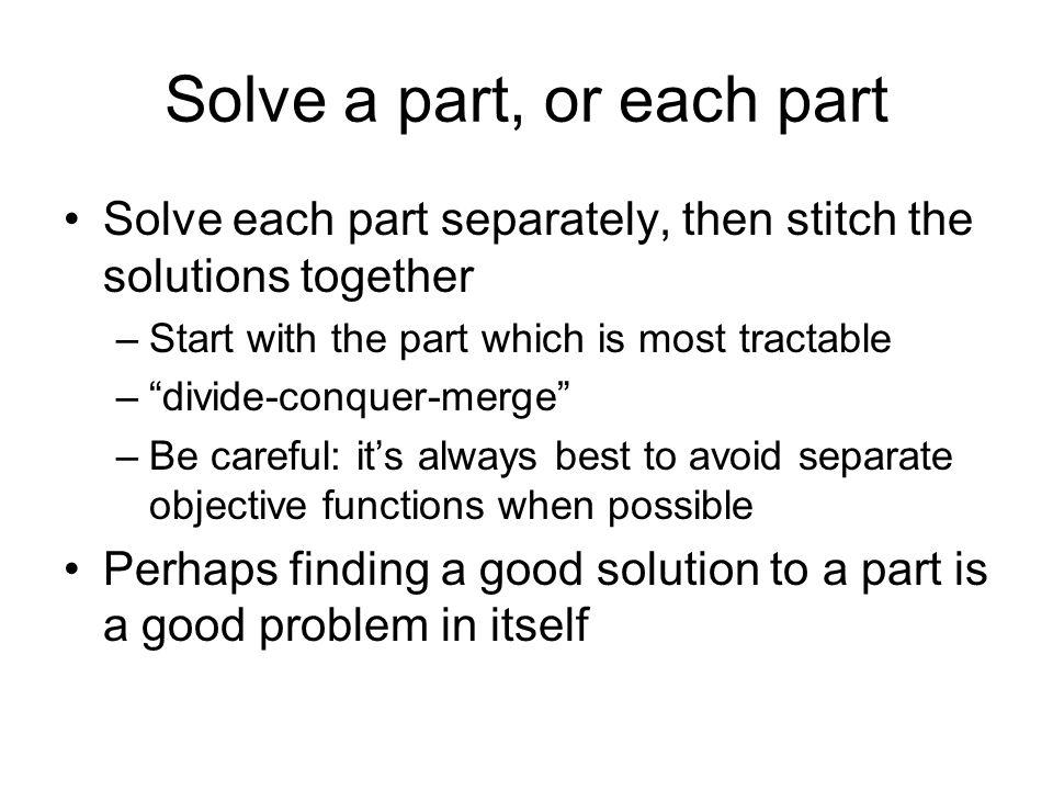 Solve a part, or each part
