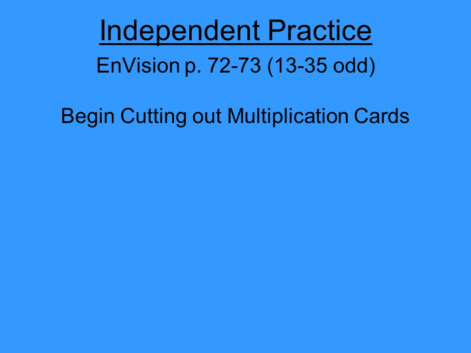 Begin Cutting out Multiplication Cards