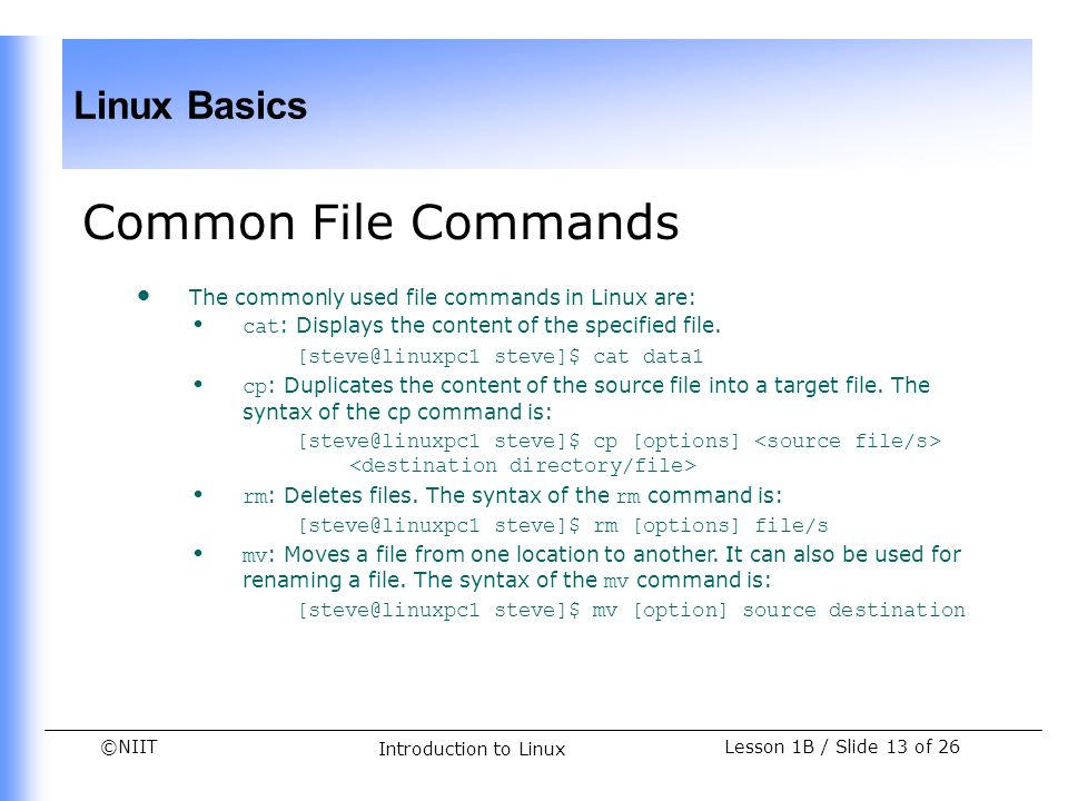 Common File Commands The commonly used file commands in Linux are:
