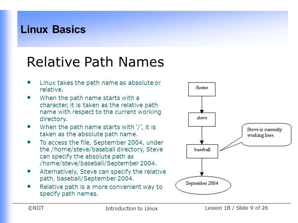 Relative Path Names Linux takes the path name as absolute or relative.