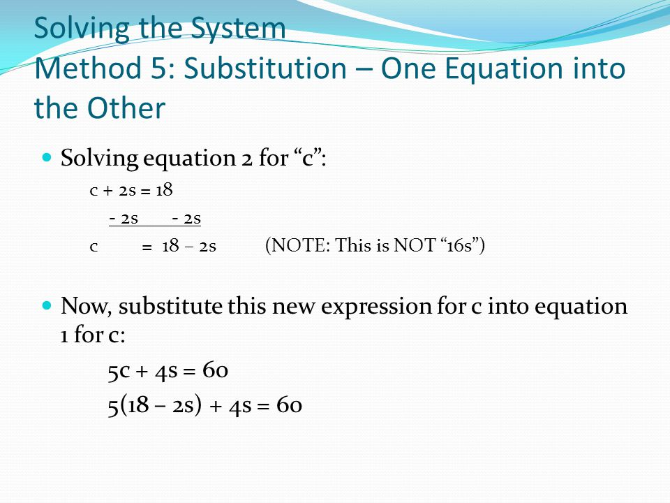 Solving the System Method 5: Substitution – One Equation into the Other