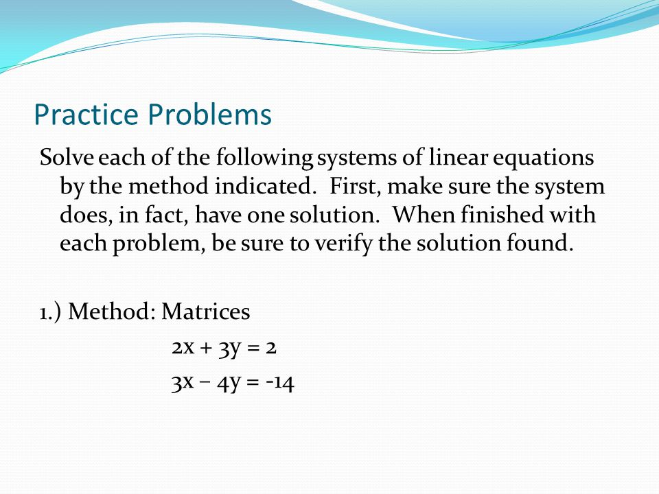 Solve Systems of Equations - Tutorial