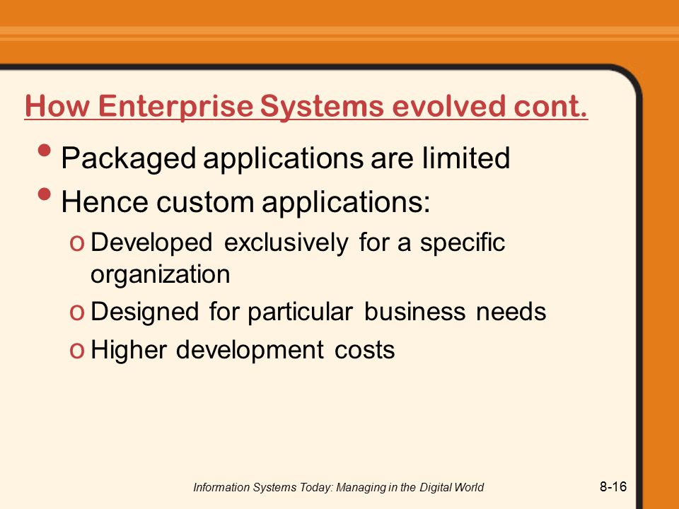 How Enterprise Systems evolved cont.